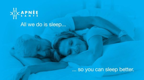 An older couple sleeping peacefully in bed, with the words 'All we do is sleep.. so you can sleep better'