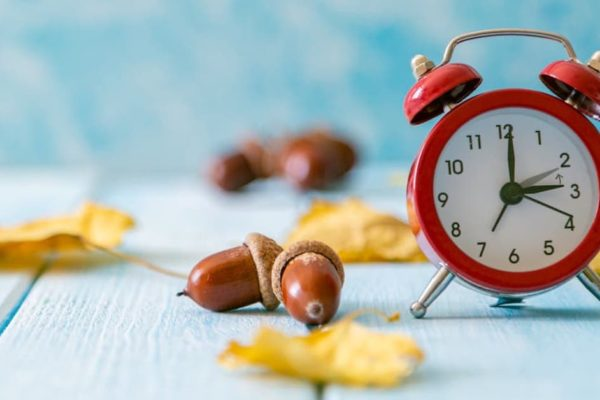 Red clock on a wooden deck with leaves and acorns