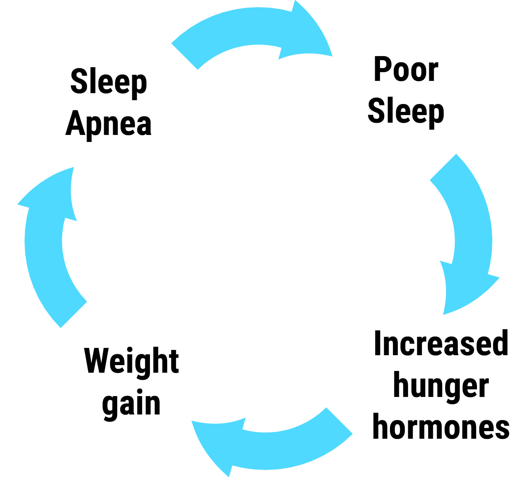 A continual cycle that shows that sleep apnea leads to poor sleep which leads to increased hunger hormones which weight gain. After that, the process repeats.