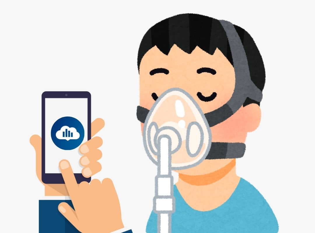 Man with cpap mask, showing the Philips app