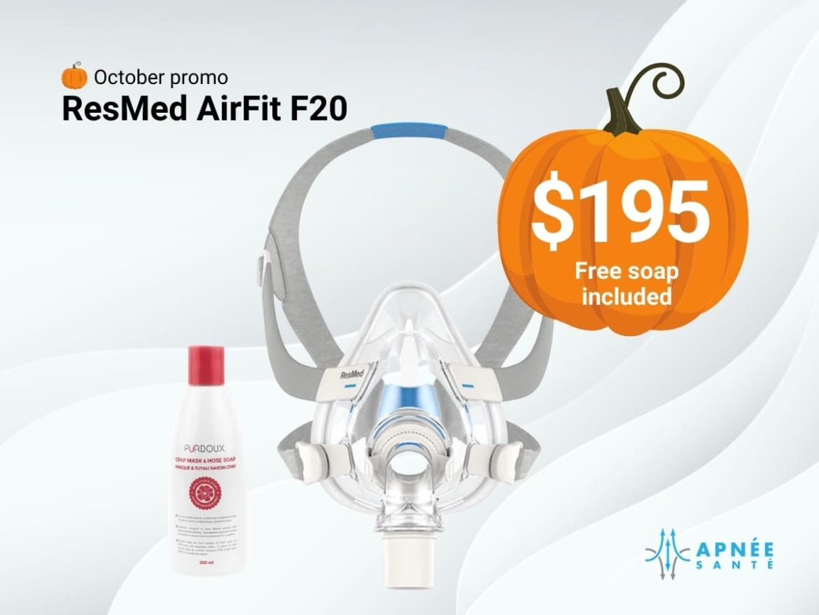 October promo - Resmed airfit f20 mask $195 free soap included