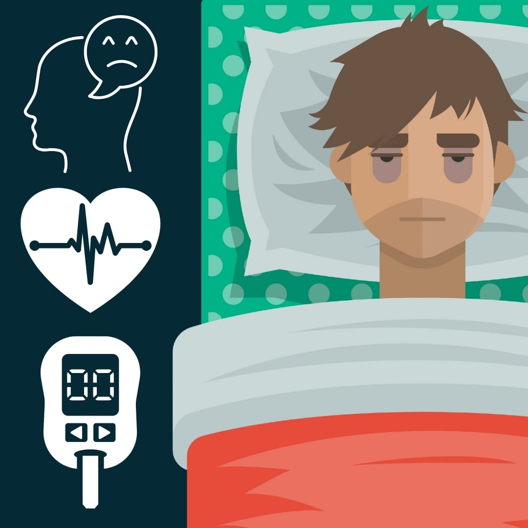 Man awake in bed next to symbols of depression, heart issues and diabetes
