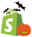 shopify icon with halloween imagery