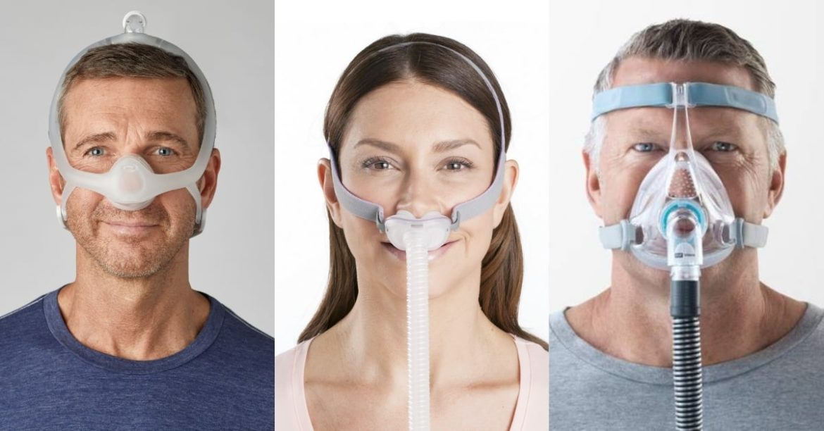 Three people, side by side, one wearing a nasal mask, one wearing a nasal pillows mask and the last wearing a full face mask