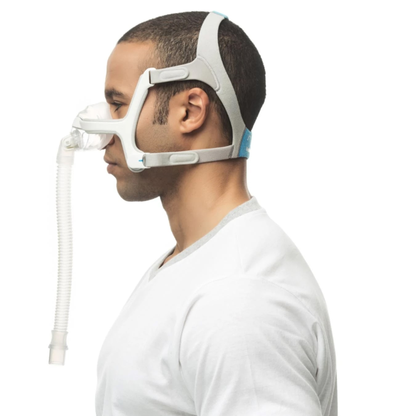 Side view of man wearing n20 mask