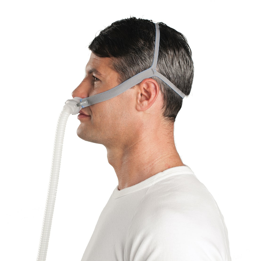 Side view of man wearing an AirFit P10 mask