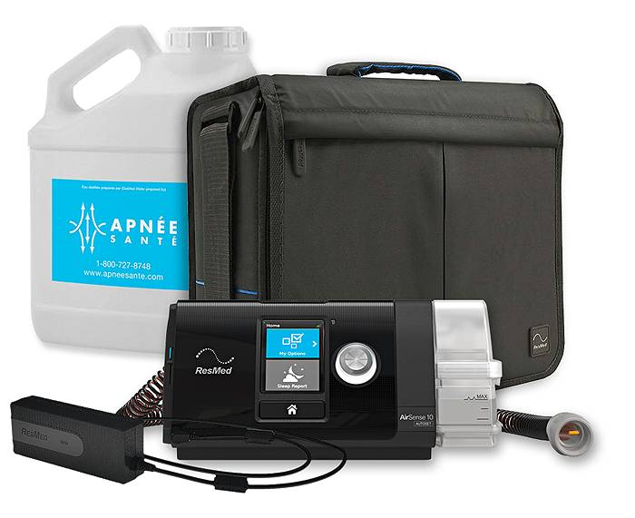 Airsense CPAP machine with a carrying case, tubing, power cord and distilled water
