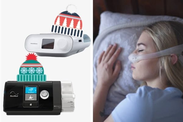 CPAP machines with tuques on and a woman sleeping with a CPAP mask on